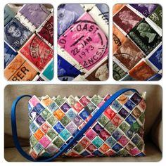 Taske lavet af frimærker
