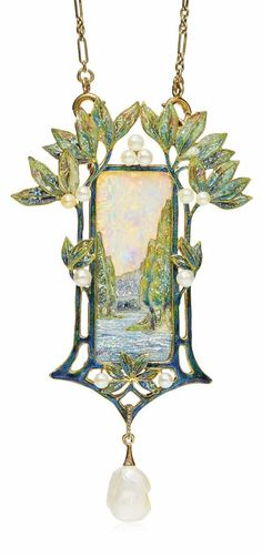 GEORGES FOUQUET - AN ART NOUVEAU OPAL, ENAMEL AND PEARL PENDENT NECKLACE, CIRCA 1900. Modelled as a rural landscape, the enamel river and trees underneath an opal sky, to the enamel foliate surround with seed pearl accents, suspending a baroque pearl, with French assay marks for gold, signed G. Fouquet, numbered. ~ETS #artnouveau