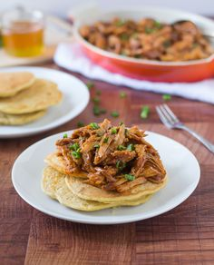 Slow Cooker Honey Pulled Pork Recipe with Cornmeal Pancakes