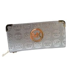 Perfect Michael Kors Fashion Logo Large Silver Wallets, Perfect You