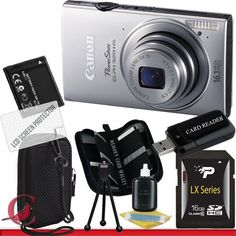 Canon PowerShot ELPH 320 HS Digital Camera (Silver) 16GB Package 2 by Canon. $234.99. Package Contents:  1- Canon PowerShot ELPH 320 HS Digital Camera (SILVER) w/ All Supplied Accessories 1- 16GB SDHC Class 10 Memory Card  1- USB Memory Card Reader   1- Rechargeable Lithium Ion Replacement Battery  1- Weather Resistant Carrying Case w/Strap  1- Pack of LCD Screen Protectors  1- Camera & Lens Cleaning Kit System  1- Mini Flexible Table Top Tripod 1- Memory Card Wallet