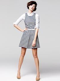 stripe dress with white shirt underneath