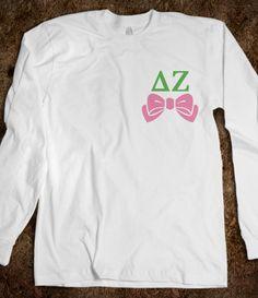 Delta Zeta Long Sleeve Tee - Delta Zeta Bows Long Sleeve Tee CLICK HERE to purchase :) sorority shirts - Buy 1 or 100!