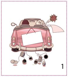just married car drawing Decor Eventos, Wedding Cards, Wedding Gifts, Just Married Car, Acrylic Wall Art, Diy Gifts, Create Your Own, Decoupage, Diy And Crafts