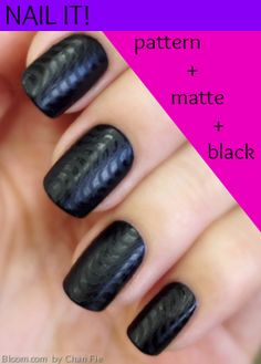 Nail this trend: Black looks ultra chic in patterned matte. Bloom member Chan Fie of IndianOceanPolish Nailed It!