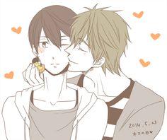 Double kiss ... Drawn by 麻倉 ... Free! - Iwatobi Swim Club, haruka nanase, haru nanase, haru, haruka, nanase, free!, iwatobi, makoto tachibana, makoto, tachibana, mascot, iwatobi mascot, harutobi