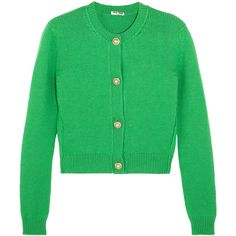 Miu Miu Cropped embellished cashmere cardigan ($1,385) ❤ liked on Polyvore featuring tops, cardigans, jackets, green, cut-out crop tops, green cropped cardigan, cashmere tops, embellished tops and miu miu