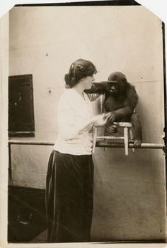 Djuna Barnes with gorilla at Bronx Zoo, 1914, Photograph, 14.9 x 10.16 cm, Djuna Barnes Papers, Special Collections, University of Maryland Libraries.