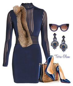 """""""The Lady In Navy"""" by terra-glam ❤ liked on Polyvore featuring Balmain, Christian Louboutin, Giuseppe Zanotti, Thierry Lasry, women's clothing, women's fashion, women, female, woman and misses"""