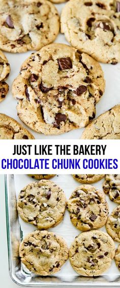 chewy and delicious chocolate chip cookies are just like the kind you get at the bakery (or better if you ask me! My friends and family rave about this cookie recipe. Cookie Desserts, Just Desserts, Cookie Recipes, Delicious Desserts, Dessert Recipes, Dessert Food, Butter Bakery, Butter Chocolate Chip Cookies, Galletas Cookies