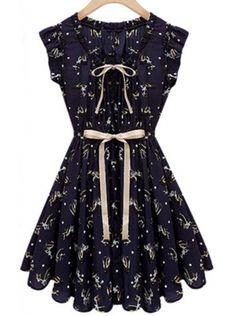 blue sleeveless drawstring waist animal print dress