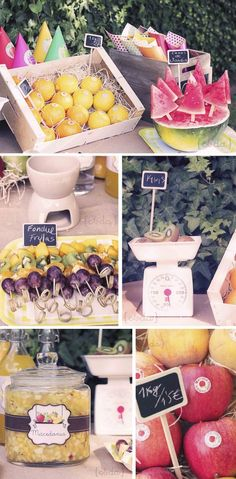 Have fruit at the party...Mangos, pineapple, strawberries. Add a  bowl of lemons, limes and oranges to the table for decor