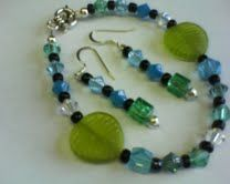 Bracelet and earrings I made for my friend, Pat.