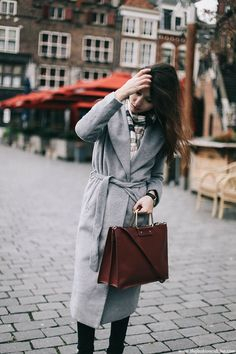 Grey Robe Coat with Chelsea Boots