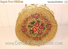 50% OFF CLEARANCE SALE Vintage Gold Beaded Evening Bag Purse with Rose Design