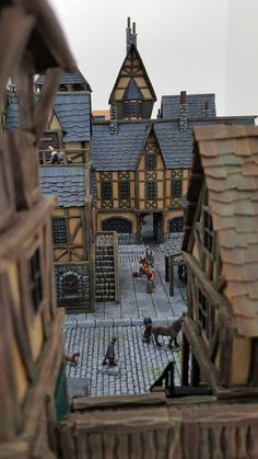 Providence - Medieval City Port Miniature - by Chris Da Silva Medieval Houses, Medieval Town, Medieval Fantasy, Environment Concept Art, Environment Design, Fantasy House, Fantasy World, Figurine Warhammer, Tabletop