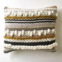 Definitely a favorite of mine from our new handwoven pillow collection launching this friday the 8 new styles available in multiple sizes accent color customizable ✌️▫️▪️✨ weaving woven handmade buyhandmade fiberart loom woventextiles textiles wovenar Weaving Textiles, Weaving Art, Tapestry Weaving, Loom Weaving, Hand Weaving, Diy Pillows, Decorative Pillows, Throw Pillows, Cushions