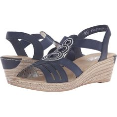 Rieker 62459 Fanni 59 (Pacific) Women's Wedge Shoes ($70) ❤ liked on
