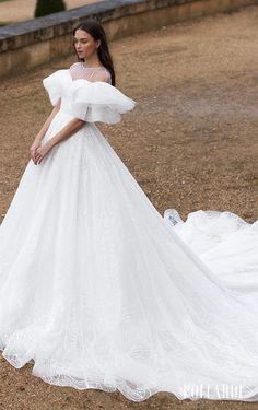 Princess ball gown wedding dress with ruffled shoulder detail on sleeves | Pollardi Wedding Dresses 2021 Royalty Bridal Collection - Mightiness | How to Choose a Wedding Dress in 2021- Belle The Magazine | See more gorgeous bridal gowns by clicking on the photo