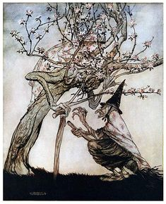A witch straddling her broom addresses a tree with human-like face and arms, failing to notice the girl hiding in the blossoms