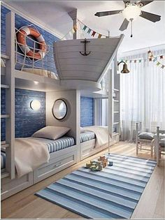 Rustic Italian Decor Bedroom: Nautical Room Design Ideas For Your Kid Cool Kids Rooms, Room Kids, Room For Two Kids, Cool Boys Room, Creative Kids Rooms, Bunk Rooms, Awesome Bedrooms, Coolest Bedrooms, Dream Rooms