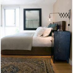 masculine bedroom, blues and brown