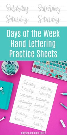 Print off these free days of the week hand lettering practice sheets. In 8 lettering styles including brush lettering, bounce lettering, and modern calligraphy, you can improve your lettering! Modern Calligraphy Tutorial, Hand Lettering Tutorial, How To Write Calligraphy, Calligraphy Practice, Calligraphy Letters, Brush Lettering Worksheet, Hand Lettering Practice, Handwriting Practice, Hand Lettering For Beginners