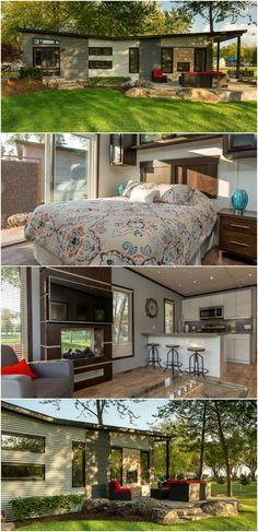 """Stunning 540 Square Foot Tiny House at Ontario Resort Sleeps Up to Six - Rochester Place Resort is a beautiful development in Belle River, Ontario built around a world-class golf course and surrounded by luxurious homes, several of which are tiny houses! The Chapman is their 540 square foot model featuring a V-shaped """"butterfly"""" roof line and it's currently available for $174,900."""