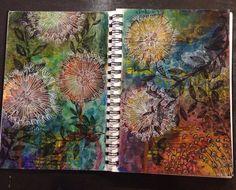 Dandelions Paint pens, stamps, Dylusions, Gelatos