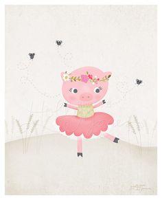 Dancing Pig and Flies Printout - 8 x 10 inch - Printable digital file - Instant Download