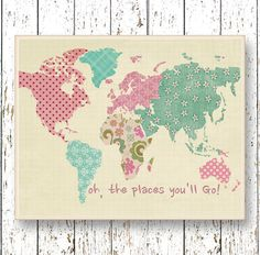 World map art Oh, the Places you'll Go! Dr Seuss girls room decor Family Room playroom art Kids wall art pink turquoise blue artwork print