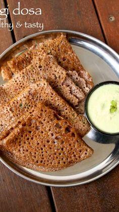 Ragi Recipes, Paratha Recipes, Spicy Recipes, Cooking Recipes, Healthy Recipes, Healthy Food, Crepes, Ragi Dosa, Comida India