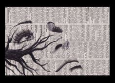 Face drawing on newspaper