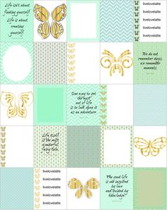 MINT GOLD BUTTERFLIES Life Erin Condren (Vertical) Planner Stickers - digital - INSTANT DOWNLOAD by LiveLoveLatte on Etsy