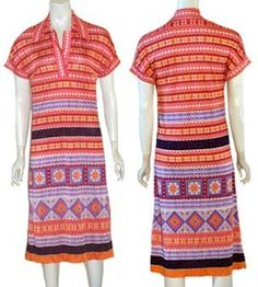 Vintage 1970s Jersey Midi Dress Mosaic Print | NeldasVintageClothing - Clothing on ArtFire