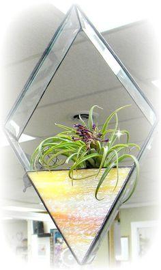 Terrarium, Medium Hanging Air Plant Terrarium With Succulent Plant, Terrarium Supplies, Stained Glass, Geometric, Yellow, Orange