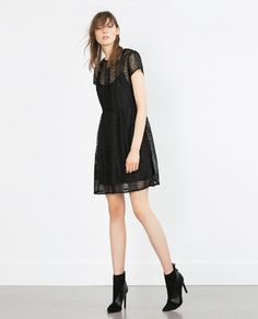 GUIPURE LACE DRESS WITH FLOUNCE SKIRT