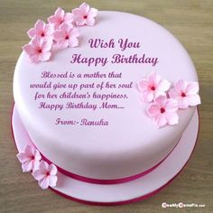 Happy birthday wishes greeting cake for mom wishes your name images, make your name photo editor option beautiful birthday cake profile and status mother, special day for sweet mom... Happy Birthday Mom Wishes, Mother Birthday Cake, Golden Birthday Cakes, Birthday Cake Write Name, Image Birthday Cake, Birthday Sheet Cakes, Happy Birthday Cake Images, Birthday Wishes Cake, Birthday Cake With Photo