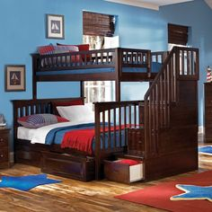 Have to have it. Columbia Twin over Full Stairway Bunk Bed $1593.99  waterfireviews.com