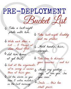 A Pre-Deployment Bucket List: FREE Printable