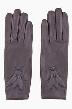 Kenzo - Grey gloves with fly detail