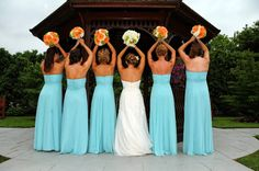 beautiful color combination - aqua blue bridesmaid dresses and bouquets with oranges