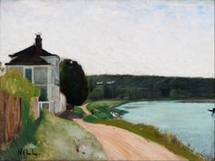 Villa at Seine, Bois-le Roi. Fontainebleau - Carl Fredrik Hill  , 1877  Swedish, 1849-1911  Oil on canvas,  53.5 mm (2.11 in) x  73 mm (2.87 in).