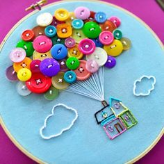 House with Balloons Hand Embroidery Hoop Art - Hand Embroidery Stitches Hand Embroidery Stitches, Embroidery Hoop Art, Hand Embroidery Designs, Etsy Embroidery, Hand Stitching, Kids Crafts, Arts And Crafts, Baby Crafts, Fabric Crafts