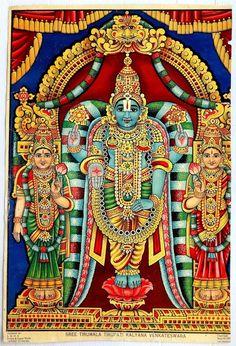 Lord Vishnu and his wives Goddess Lakshmi and Goddess Bhumi Mysore Painting, Tanjore Painting, Krishna Painting, Krishna Art, Krishna Leela, Indian Gods, Indian Art, Rama Image, Lakshmi Images