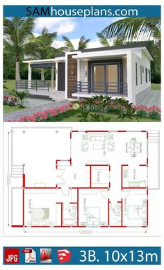 Beautiful House Plans, Simple House Plans, My House Plans, Simple House Design, Family House Plans, House Plans 3 Bedroom, Simple Bungalow House Designs, 3 Bedroom Plan, Low Cost House Plans