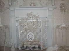 french country scroll floral antique finish cottage shabby chic rh pinterest com shabby chic fireplace screens