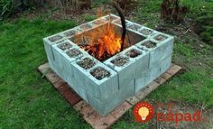 Cinder Block Fire Pit - There is always a good reason to build a fire pit in your backyard. And when it comes to building a fire pit, cinder block is always a good material to use. Diy Fire Pit, Fire Pit Backyard, Backyard Patio, Backyard Landscaping, Landscaping Ideas, Patio Fire Pits, Landscaping Blocks, Sloped Backyard, Backyard Movie