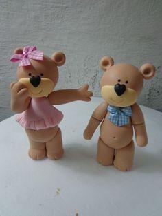 Teddy Bear Couple - Polymer Clay