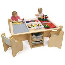 Quad Activity Table With Storage - contemporary - kids tables - other metro - Discount School Supply Toddler Play Table, Kids Play Area, Kids Room, Lego Table With Storage, Kids Storage, Toy Storage, Lego Activity Table, Table Activities For Toddlers, Casa Kids